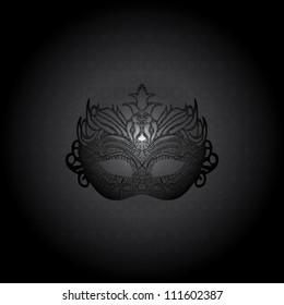 Illustration carnival mask on black background. Raster version