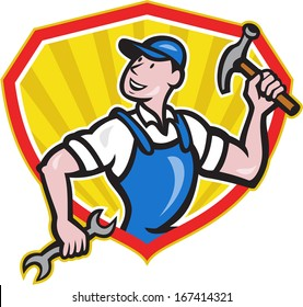 Illustration of a carpenter builder construction worker with hammer in one hand and spanner wrench in the other looking to side set inside shield done in cartoon style.