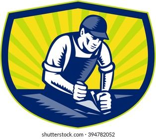 Illustration of a carpenter builder woodworker wearing hat and overalls with smooth plane working on a wood surface set inside shield crest done in retro woodcut style.
