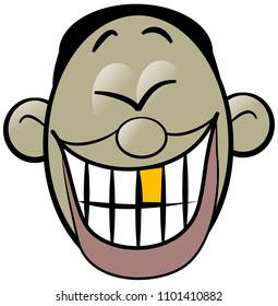 Illustration of a cartoon asian mans face laughing hysterically exposing his gold tooth.