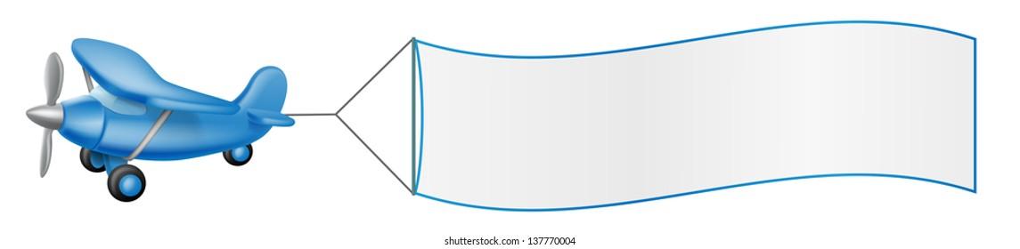 Illustration of a cartoon blue plane pulling a big banner
