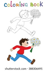Illustration of a cartoon boy running with flowers. Valentine's Day