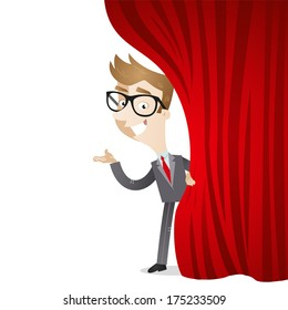 Illustration of a cartoon businessman on stage pulling a red curtain aside with welcoming gesture (Vector version also available in my gallery).