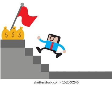 illustration of cartoon character businessman in activity