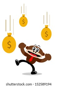 Illustration Cartoon Character of Monkey in Business Activity