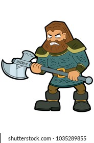 Illustration cartoon classical fantasy dwarf warrior with an axe