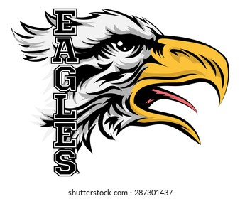 An illustration of a cartoon eagle sports team mascot with the text Eagles
