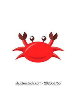 Illustration cartoon funny crab isolated on white background - raster