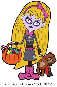 Illustration cartoon girl wearing scaring halloween costume with a candy pumpkin basket and a teddy vampire bear