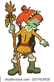 Illustration cartoon goblin girl shaman with pointed finger and a staff