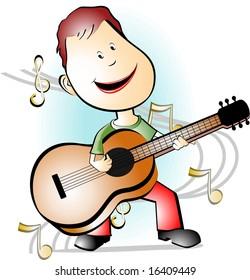 Illustration of a cartoon guitar player