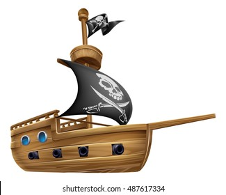 An illustration of a cartoon pirate ship boat flying a skull and crossed bones flag