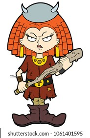 Illustration cartoon small viking girl in horned helmet with a club