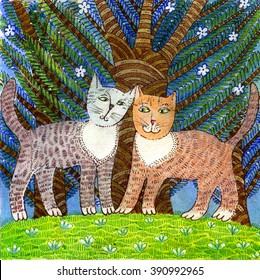Illustration of cats in love, drawn manually