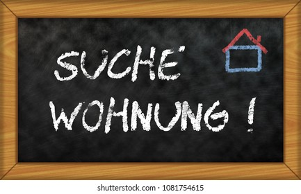 Illustration Of A Chalkboard With Apartment Search German And Drawn House