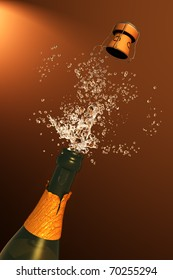 Illustration of Champagne cork ejection