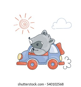 Illustration with a cheerful racoon in car. Raster image.
