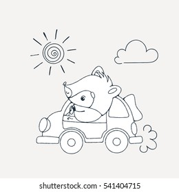 Illustration with a cheerful racoon in car. Raster coloring page.
