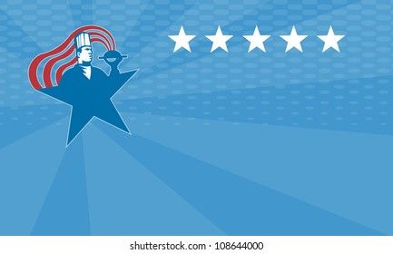 Illustration of a chef cook baker serving hot food with stars and stripes done in retro style.