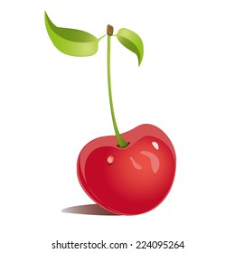 Illustration cherries with drops