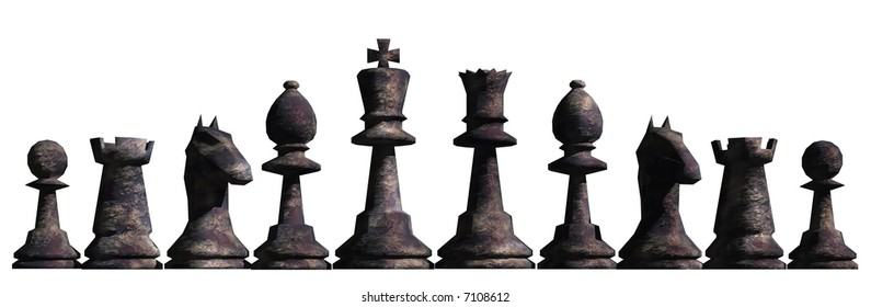 Illustration of chess pieces lined up as a border