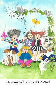 Illustration of children and birds singing