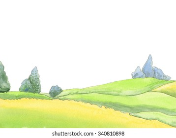 Illustration for children cute fairytale landscape. Landscape of a forest with trees . Nature watercolor illustration