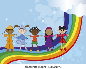 illustration with children of different nationality