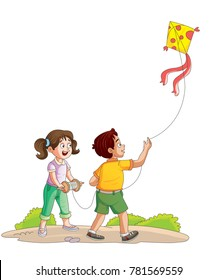 Illustration of children flying kite