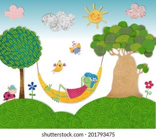 Illustration for children. Frog in relax