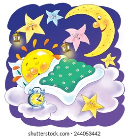 Illustration for children. Moon and stars are singing lullaby for sleeping sun