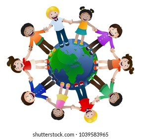 illustration of children united holding hand around the world on isolated white background   Map source:  https://www.cia.gov/library/publications/the-world-factbook/maps/refmap_time_zones.html   Sof