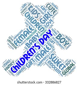 Illustration of Children's Day concept in modern word cloud. Major global variants include a Universal Children's Day on November 20, by United Nations recommendation.