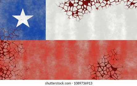 Illustration of a Chilean Flag, imitating of painting on the old wall with cracks