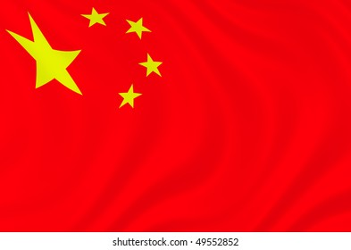 Illustration of China flag waving in the wind
