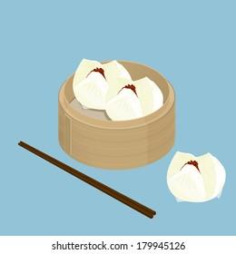 A illustration of Chinese dim sum, Char Siu Bao, Barbecued pork bun