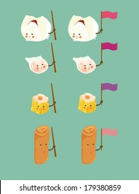 A illustration of Chinese dim sum friends