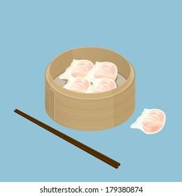 A illustration of Chinese dim sum, Har Gau, Shrimp Dumpling