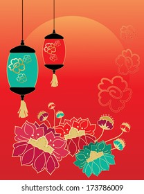 an illustration of a chinese new year celebration greeting card design with stylized flowers lanterns and a rising sun