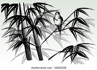 illustration of chinese style ink painting