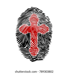 Illustration Christian fingerprint on a white background.