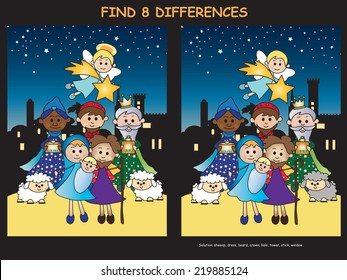 illustration of christmas game: find eight differences
