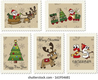 illustration of Christmas stamps with Santa Claus and reindeer