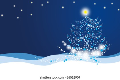 Illustration of the Christmas tree with glowing star standing in the snow