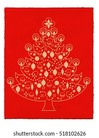 Illustration of a christmas tree on red paper background