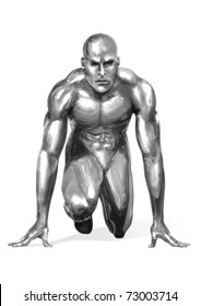 Illustration of a chrome man getting ready for a fast sprint