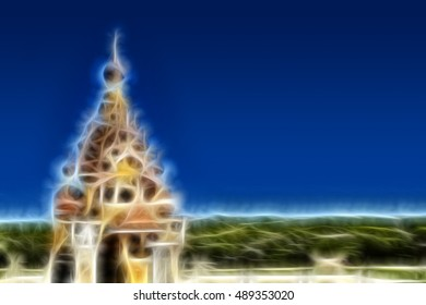 Illustration of church against the background of the sky