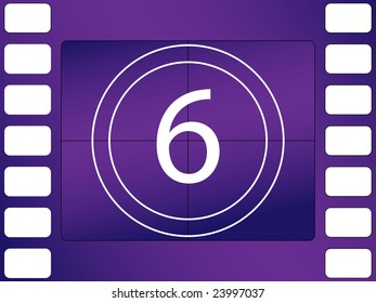 illustration of cinema countdown, number 6