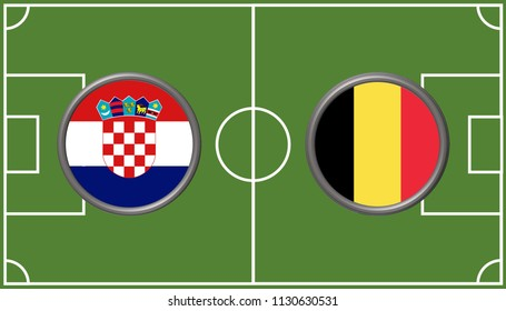 Illustration of circular flag of Croatia and Belgium on the football field background. The concept of football match Croatia vs Belgium.