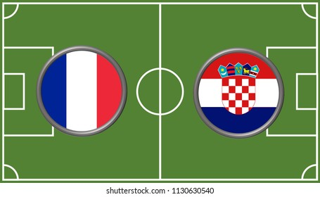 Illustration of circular flag of France and Croatia on the football field background. The concept of football match France vs Croatia.